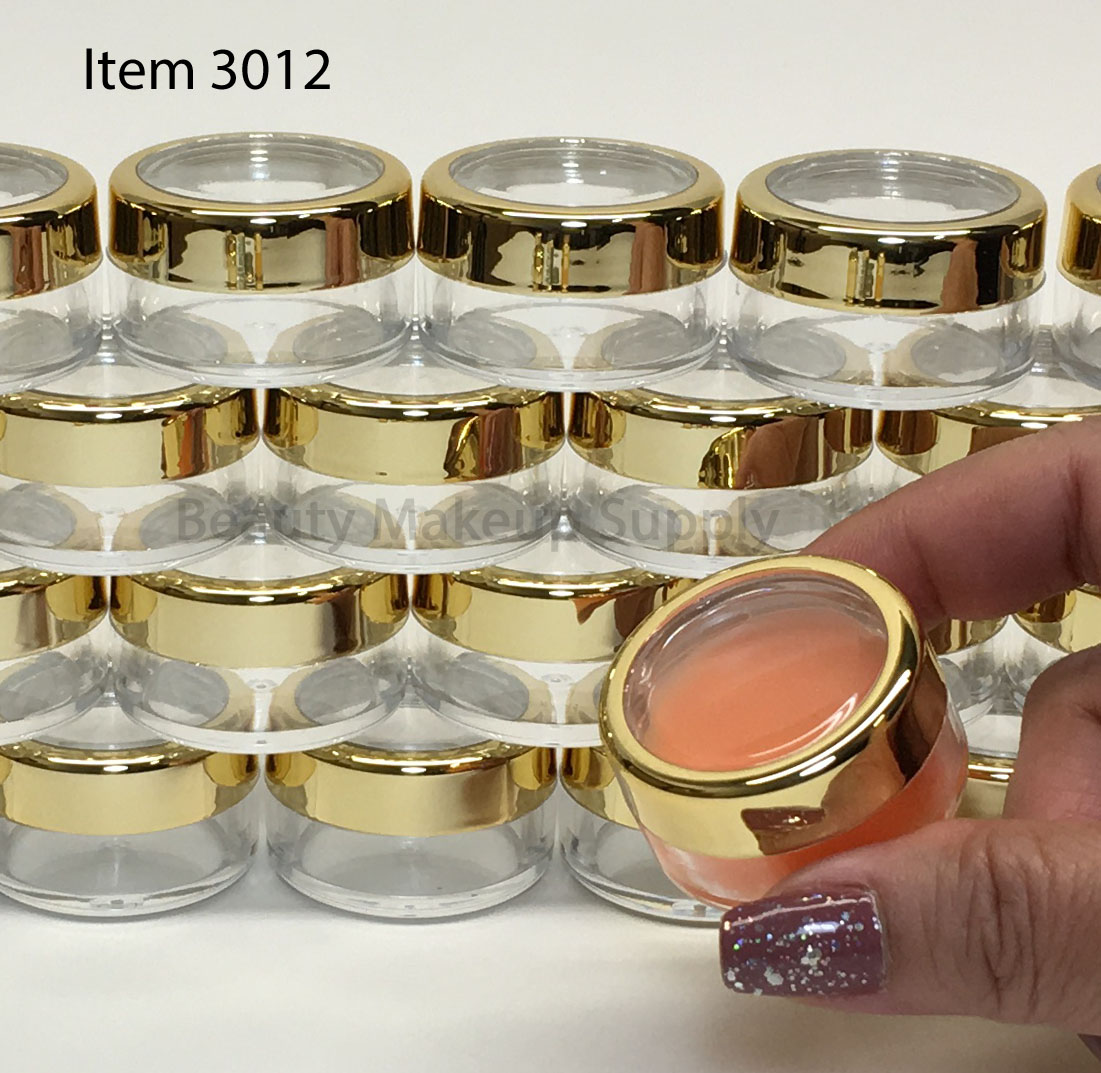 Cosmetic Jars Plastic Beauty Containers - 10 Gram (Gold Trim Acrylic Window Caps) - sku# 3012