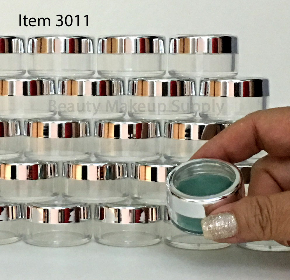 Cosmetic Jars Plastic Beauty Containers - 10 Gram (Silver Trim Acrylic Window Caps) - sku# 3011
